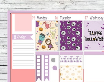 Halloween Set Full box Half Box Flag Stickers To Use With Erin Condren Planner