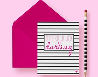 Just Thinking of You Card | Hello Darling | Just Because | Stripes | A2