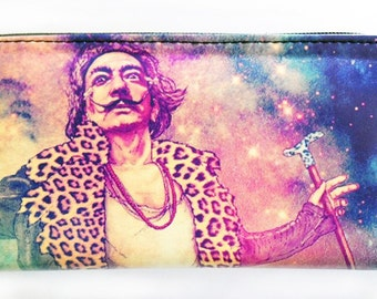 Colorful Salvador Dali Wallet, Stylish Wallet, Spacious Wallet, Cool Wallet, Zippered Wallet, Surrealist, Zippered Pouch, Gift for Her, Gift
