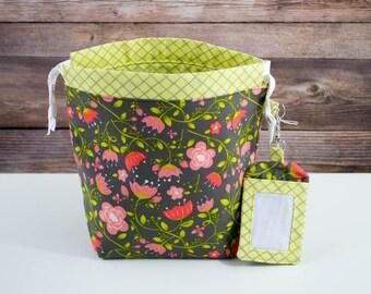 Iron Lattice Sock Knitting Bag, Knitting Project Bag, Drawstring Bag, Small Project Bag, Crochet Bag,