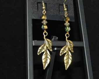 Bronze Leaves and Crystal Earrings
