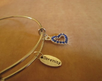 Adjustable Bangle Bracelet with 'Serenity' and Blue Rhinestone Heart Charms