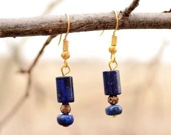 Lapis earrings gold plated, Lapis lazuli earrings, Lapis earrings, Lapis earrings drop, Earrings lapis gold, Lapis lazuli drop earrings