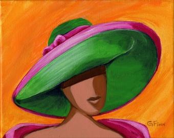 Green Kentucky Derby Hat, Pink Princess Diana Hat, Colorfull Wall Art, Giclee Print Signed Original Artwork, Home Decor Gift, Green & Pink