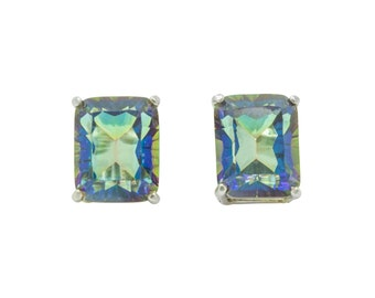 Magic Blue Quartz Emerald Cut Sterling Silver Stud Earrings