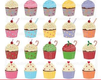 Cupcakes Clipart, Cup Cake Clip Art, Cupcake Clipart, Digital Cupcakes, Colorful Cupcakes, Cupcake Instant Download, Christmas Cupcakes