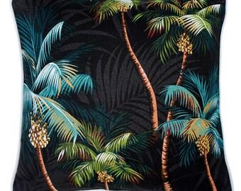 Cushions in Bulk with discount - Tropical Cushions, Palm Trees on Black, Barkcloth, Island, Beach, Coastal, Polynesian, Hawaiian,