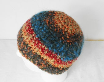 Striped Crochet  Beanie Handmade Hat