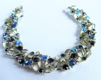 Lisner Vintage Mid Century Lavender Blue Aurora Borealis Bracelet, Lisner Silver Tone Bracelet, Lisner Jewelry, Bridal Jewelry,1960s