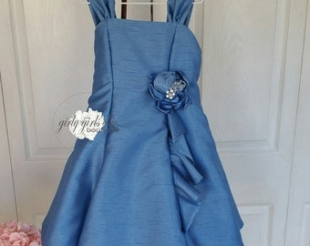 Blue Sleeveless Princess Flared Special Occasion Wedding Flower Girl Party Dress Ready To Ship