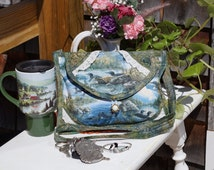 Beautiful Loons and Lake Shoulder Bag, Handmade Purse, Handcrafted in USA, One Of A Kind, OOAK Hand Bag