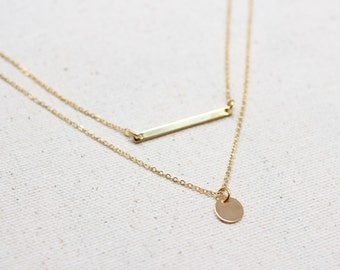Dainty Gold Bar & Coin Layering Necklace / Minimalist Necklace