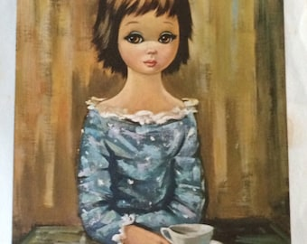"Vintage 9"" x 7"" Eden Big Eyed Girl Litho"