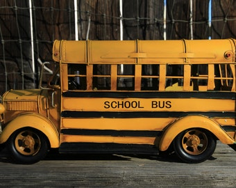 Huge metal crafts school bus