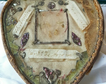 Antique Heart Shaped Reliquary Box / Case Mid-1800s Three Saints