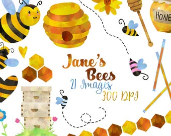 Honey Bees Clipart - Bee Items Download - Instant Download - Watercolor Cute Honey Bees Flowers