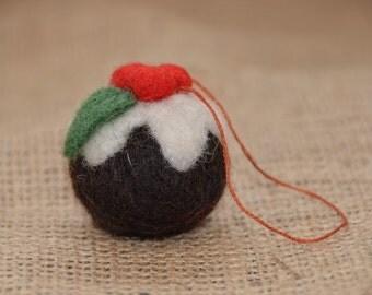 Needle felted christmas pudding decoration