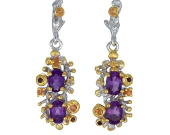 925 Silver earrings with Amethyst and Sapphire with Gold touches-Gift for her-Dangle and drop earrings