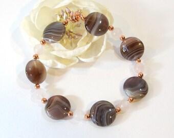 Botswana Agate Bracelet, Earth Tone Natural Semi-Precious Stone Bracelet with Rose Quartz, Copper Beads and Magnetic Clasp