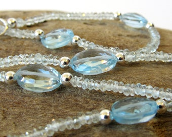 Aquamarine Necklace, Genuine Aquamarine with Blue Topaz and Sterling Silver, Blue Gemstone Necklace, March Birthstone, Handmade Jewelry