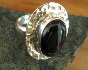Large Onyx Set Sterling Silver Ring