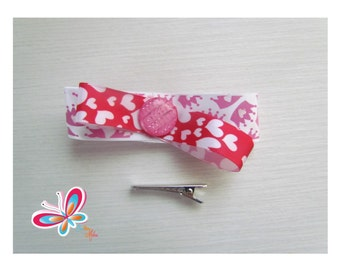 Clip hair Ribbon Crown/heart with button nacree pink