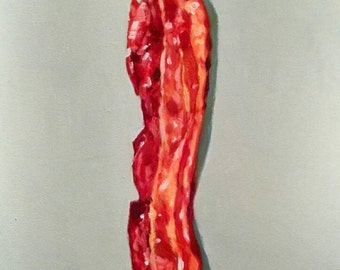 Original oil painting of bacon.  Oil on board (5x7). Unframed.