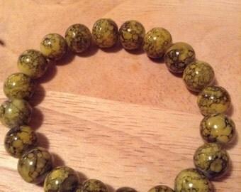 Yellow Czech Glass Beaded Bracelet
