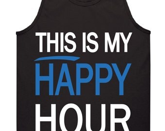 This is My Happy Hour Tank Top Design, SVG, DXF Vector files for use with Cricut or Silhouette Vinyl Cutting Machines.  PNG for direct print