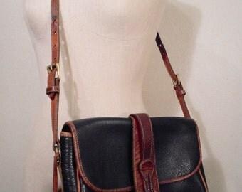 vintage 90s dooney and bourke crossbody shoulder handbag equestrian all weather leather