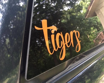 Tigers Decal - Tiger Window Decal - Mascot Decal - Tiger Sticker - Tiger Laptop Decal - Tiger Laptop Sticker - Mascot Laptop - Lyndon Tigers