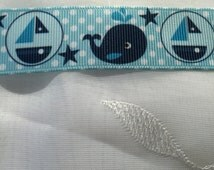 "New! Adorable blue grosgrain printed 1"" baby boy ribbon whales boats"