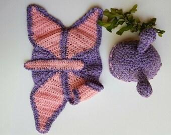 Purple pink crochet butterfly cocoon - Butterfly cape - Purple pink cocoon - Crochet infant butterfly - Infant cape butterfly