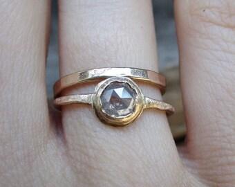 Rose Cut Diamond ring, White Raw diamond Round, Raw Diamond Engagement Ring, 14k Gold, Halo, Brushed Finish, Conflict Free, Diamond ring