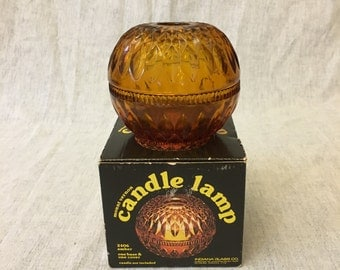 Vintage Indiana Amber Glass Fairy Light, Mount Vernon Candle Lamp