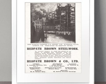 VINTAGE ADVERTISING Paper Art Print Picture Size A3 A2 A1 Industrial Industry Factory Metal Steelworks Petrol Oil Construction Docks