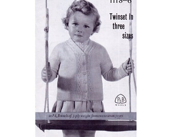 Genuine Vintage 1950s PandB 1118 Babies Twin Set Lacy Cardigan and Top Set Knitting Pattern Booklet PDF