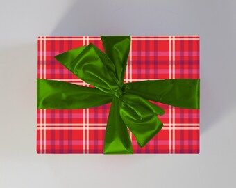Plaid Holiday Gift Wrap | Red Plaid Christmas Wrapping Paper