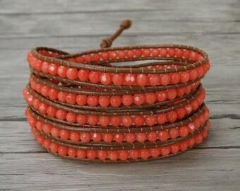 Coral bead wrap bracelet Orange coral bead bracelet women leather wrap bracelet boho stackable bracelet cuff bracelet Friendship gift SL0252
