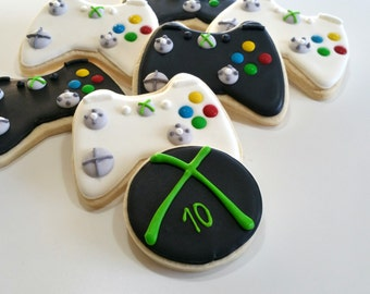 Xbox cookies, gameboy cookies, gamer cookies, xbox party, royal icing sugar cookies, baby boy birthday party, Xbox part,Xbox controller,halo