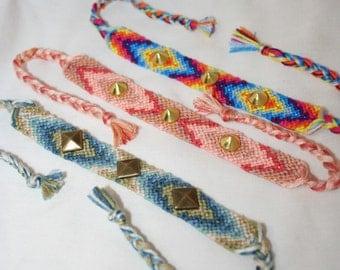 Diamond Chevron Friendship Bracelets with Spiked Embellishments