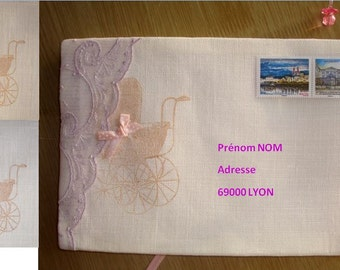 Envelope for sending birth announcements, decorated and embroidered, customizable (order) / girl / boy / cot / Baptism