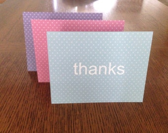 Thanks thank you note card set of three with envelopes