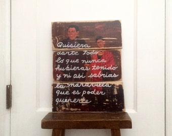 11x14 Frida and Diego Wedding Wood Wall Art with Quote in Spanish by Frida Kahlo Valentine's Day Gift for Frida Kahlo Fan