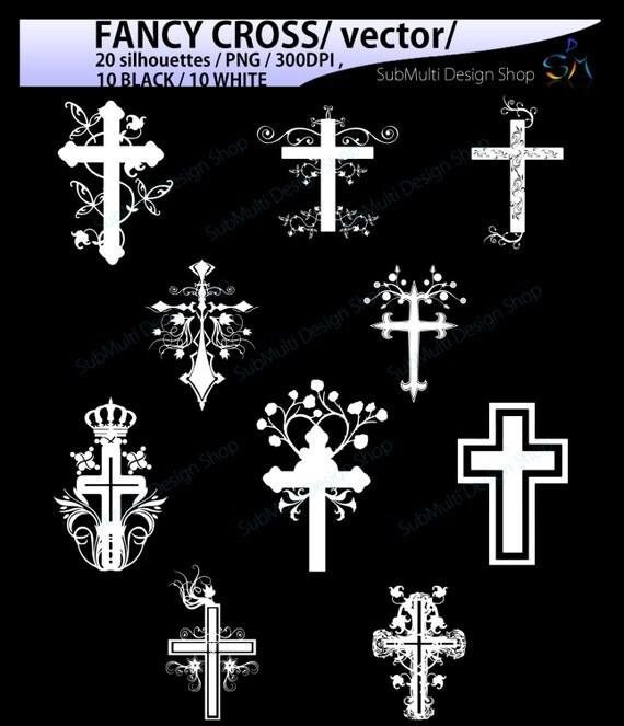 Fancy Cross Silhouette / 20 Fancy Cross Svg /Silhouettes