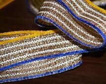 Gold Gota Ribbon, Metallic Gota Ribbon, Jari Cord Lace for Sari Border / Lehenga Dresses - Gota Pati Ribbon, Gota Ribbon for Wedding