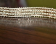 Beaded Pearl Trim and Ribbion, Sari Border Trim, Sewing Supply for Indian Dresses By The Yard