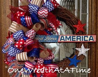 Patriotic Wreath, Memorial Wreath, 4th of July Wreath