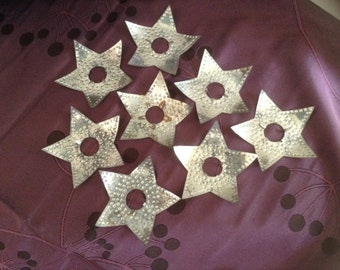 8 Punched Tin Star Christmas Light Reflectors