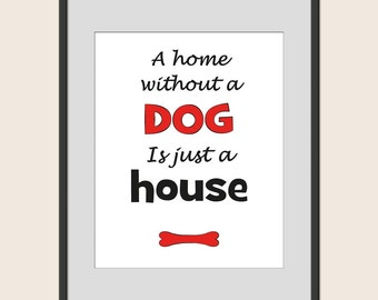 Printable Saying, A Home Without A Dog Is Just A House, Great Gift, Typography Printable, Dog Quote Wall Decor,  Minimalist Wall Art
